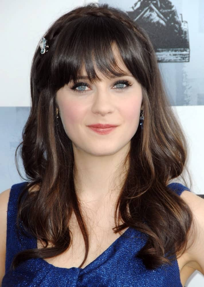 "Thick eyelash-skimming bangs are Zoeey Deschanel's signature look. The beautiful actress has been rocking the look since ""New Girl"" began and since then, she is hardly seen without her iconic hairstyle."