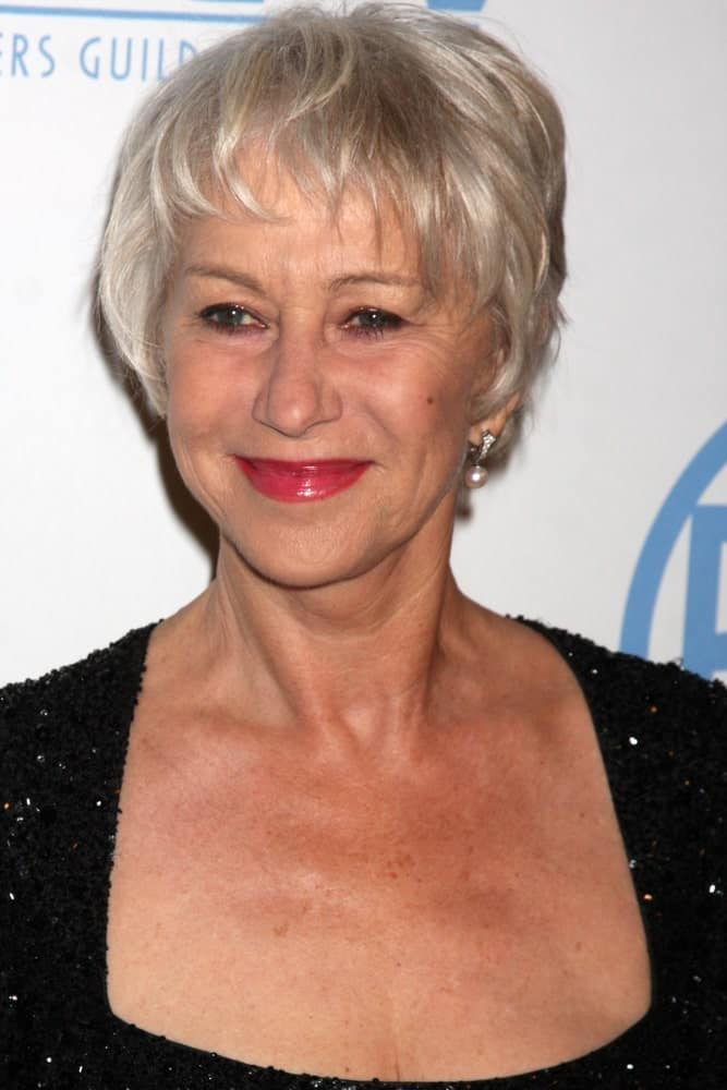 Check out Helen Mirren rocking the short and sassy haircut. The tousled fringe works to create a casual yet extremely elegant look. Whether you are going out for grocery or attending Met Gala, this haircut works for all occasions.
