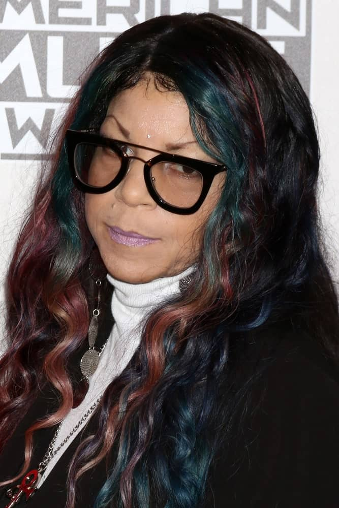 If you are feeling it, try out this amazing look of Tyka Nelson. The long hair framing her face curls softly as they loosely hang down the shoulders. The most distinctive thing about this hairstyle is that it showcases various tints of red, green and purple. Amazingly, it all goes a bit too well with the glasses!