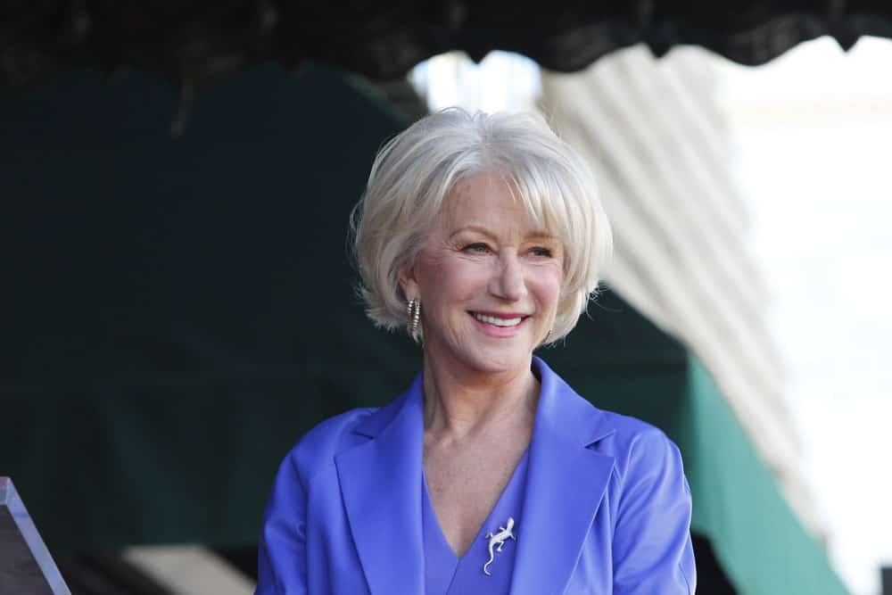 Helen Mirren is the perfect example of aging gracefully. The actress's fashion sense has put women half her age to shame. Here, she is sporting a fluffy, feathery platinum blonde lob with angled bangs.