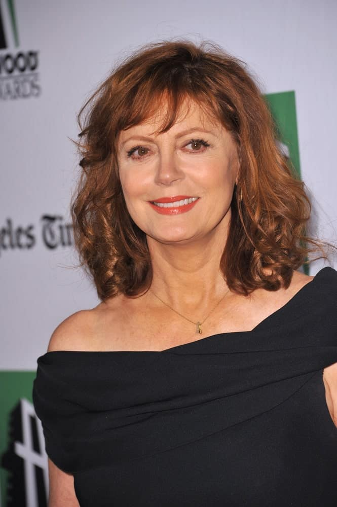72 years old Sandra Sarandon sporting a groovy look with hair that is just the perfect