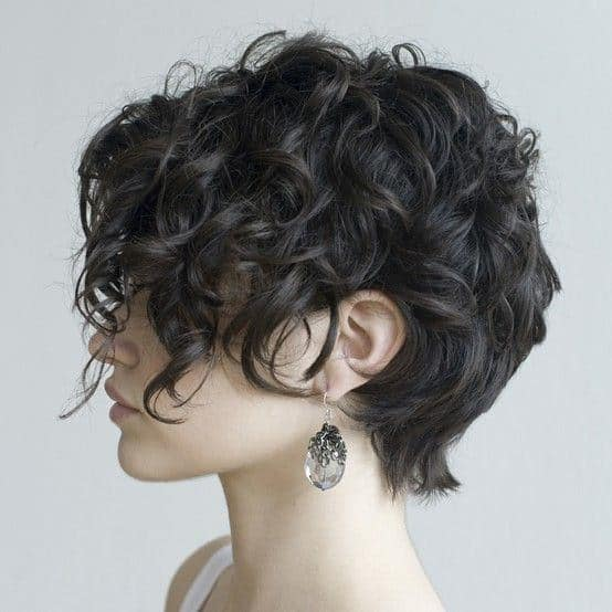 This cropped haircut requires a full head of hair. The top and sides of the hair can be curled into a mass of coils while the back remains straight and feathery.