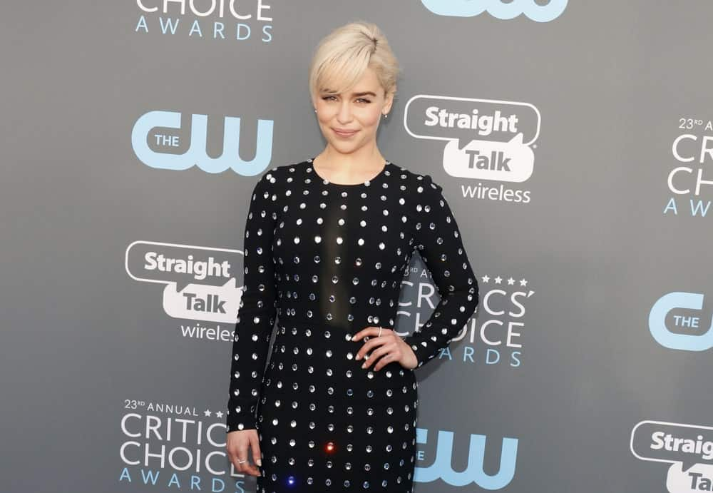 You can barely recognize Khaleesi with a fringe. The actress pulled her hair up in a messy updo which put all the emphasis on her long blonde side-swept bangs. The added bangs gives her an elegant look.