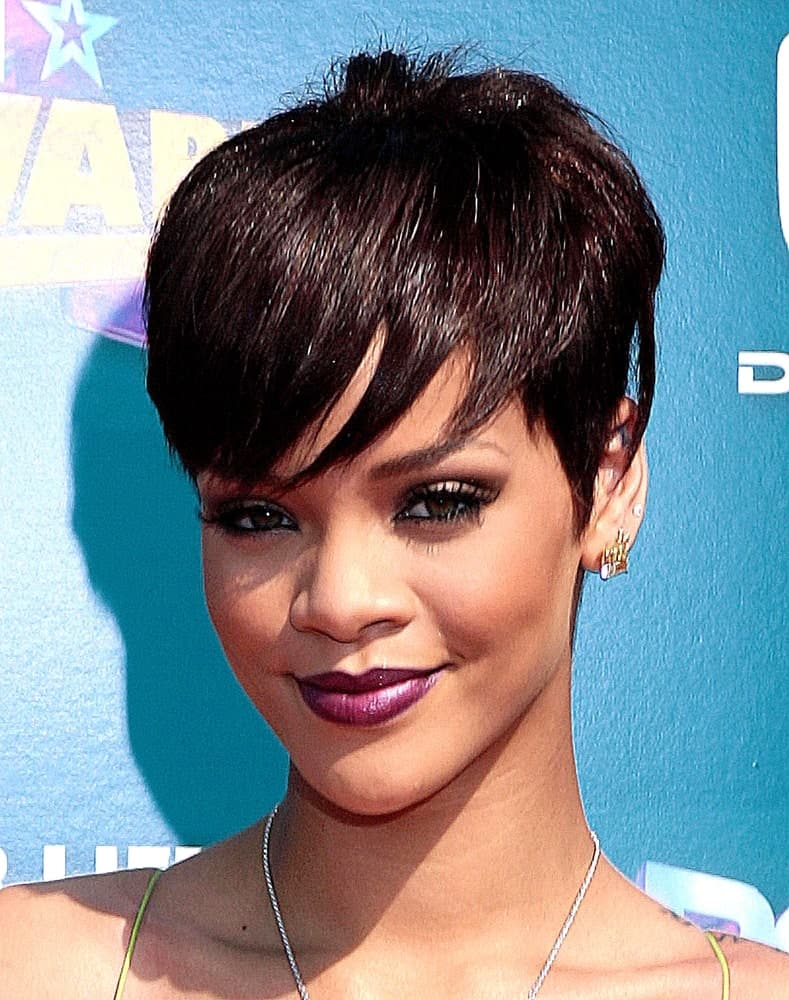 Rihanna, a trendsetter in Hollywood, is famous for her pixie cut which was extremely short in the back and the sides — almost like a buzz cut — but was softened by long, jagged bangs on the front.