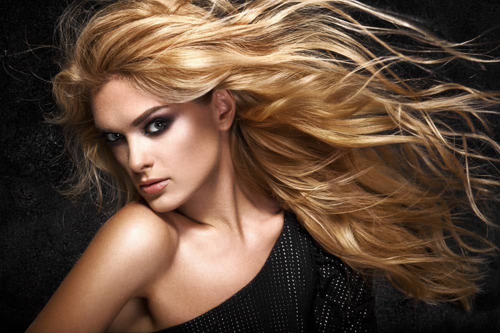 A model with long, blond tousled hair