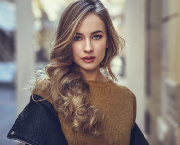 Young woman with wavy hair