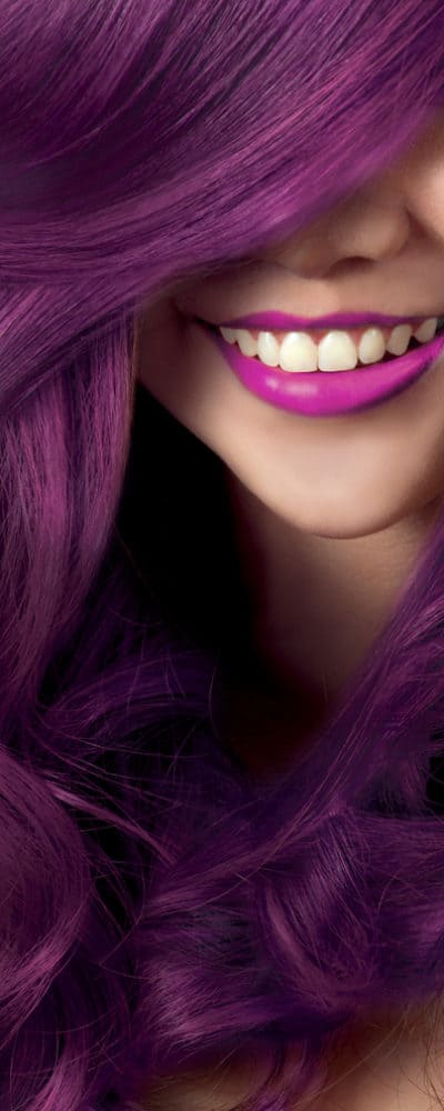 a woman flaunting her purple hair