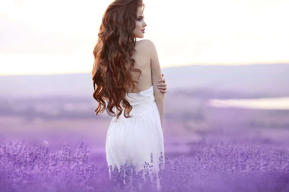 Back view of a woman with long curly hair standing in a field of lavender.