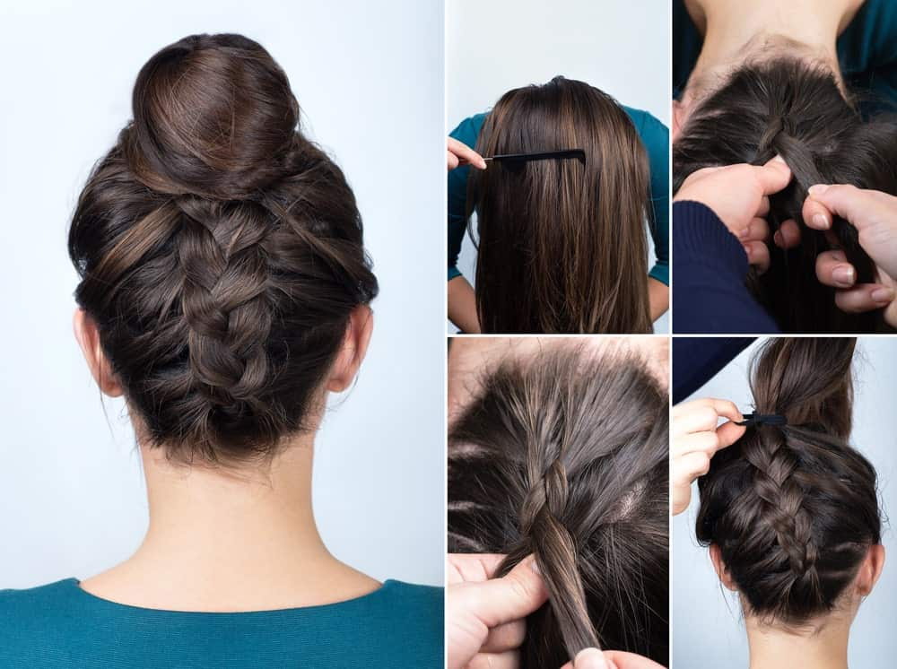 This is the perfect hairstyle that will make you appear effortlessly chic in hot summer days. To achieve this look, you will need to first tie your hair in a high ponytail and then divide it into two sections. Roll the first section into a bun and secure it with an elastic band. With the second section of your hair, draw a normal braid and then turn it around the bun and fix the tail of your braid with a strong hair pin or clip.