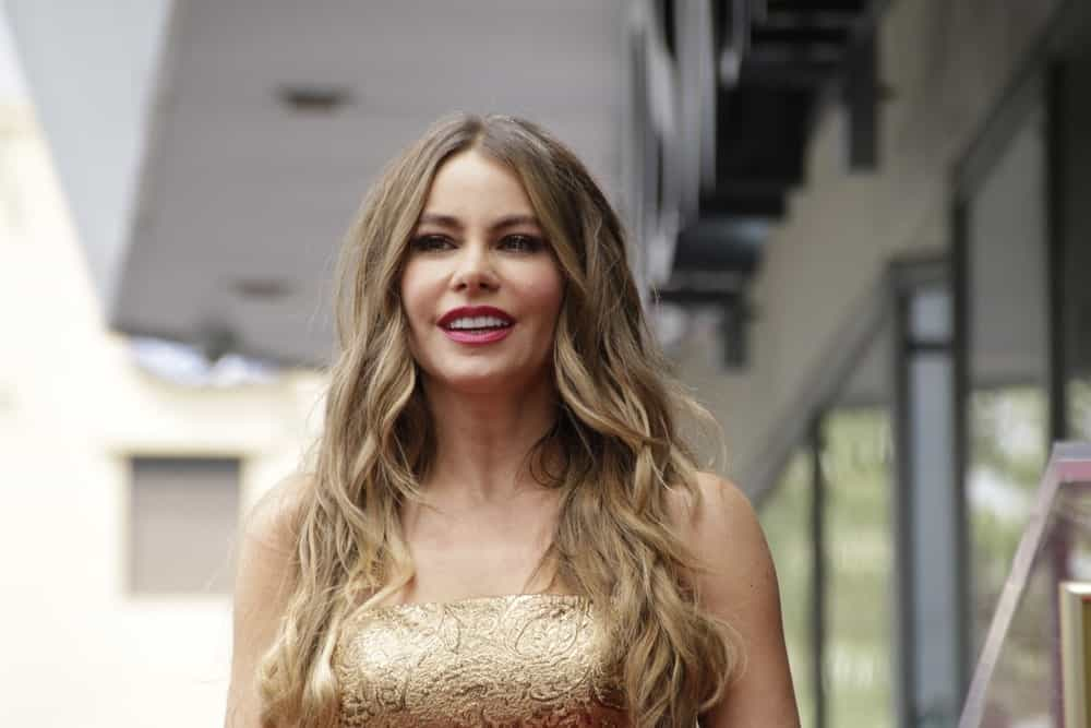 "Anyone who has watched ""Modern Family"" — or even a few red carpet events – has seen and envied Sofia Vergara's silken, honey-tinged, waterfall of hair. Here, the beautiful actress has lightened her hair considerably to a bleached sandy blonde color. She has also given it choppy layers that give it an edgy, feathery look."