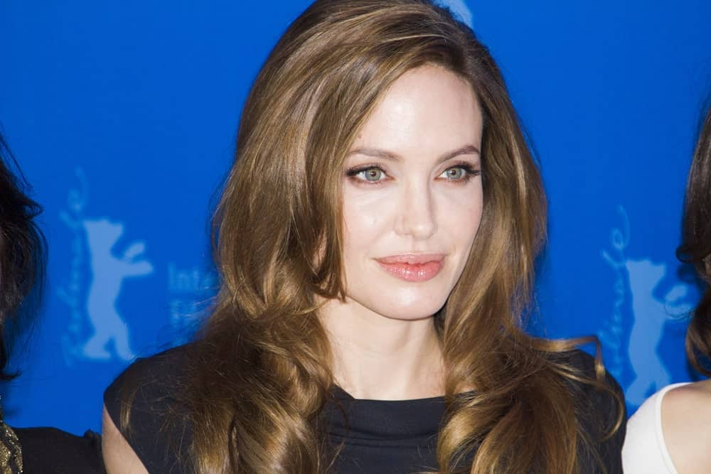 Angelina Jolie looks breathtaking with her beautiful layered hairstyle with short honey-brown layers in the front that go all the way down in long and slightly wavy layers, giving the hair a super elegant look.