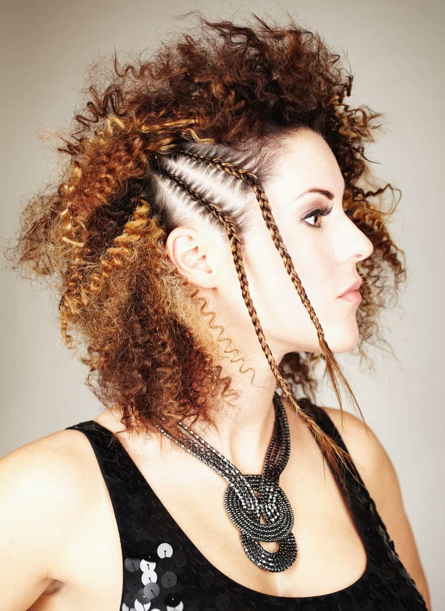 Bleached tight coils make a statement on their own but making a braiding and using it as a headband will surely turn attention your way.