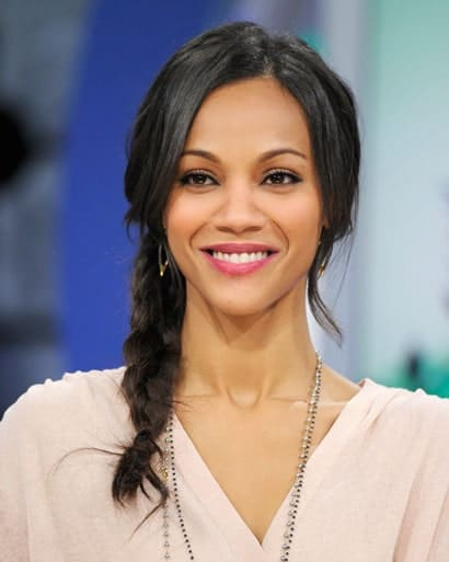 Pleating long hair into a French braid not only keeps them from getting into your face but it also gives a really neat and tidy look. Take tips from Zoe Saldana's formal hairstyle for long hair.