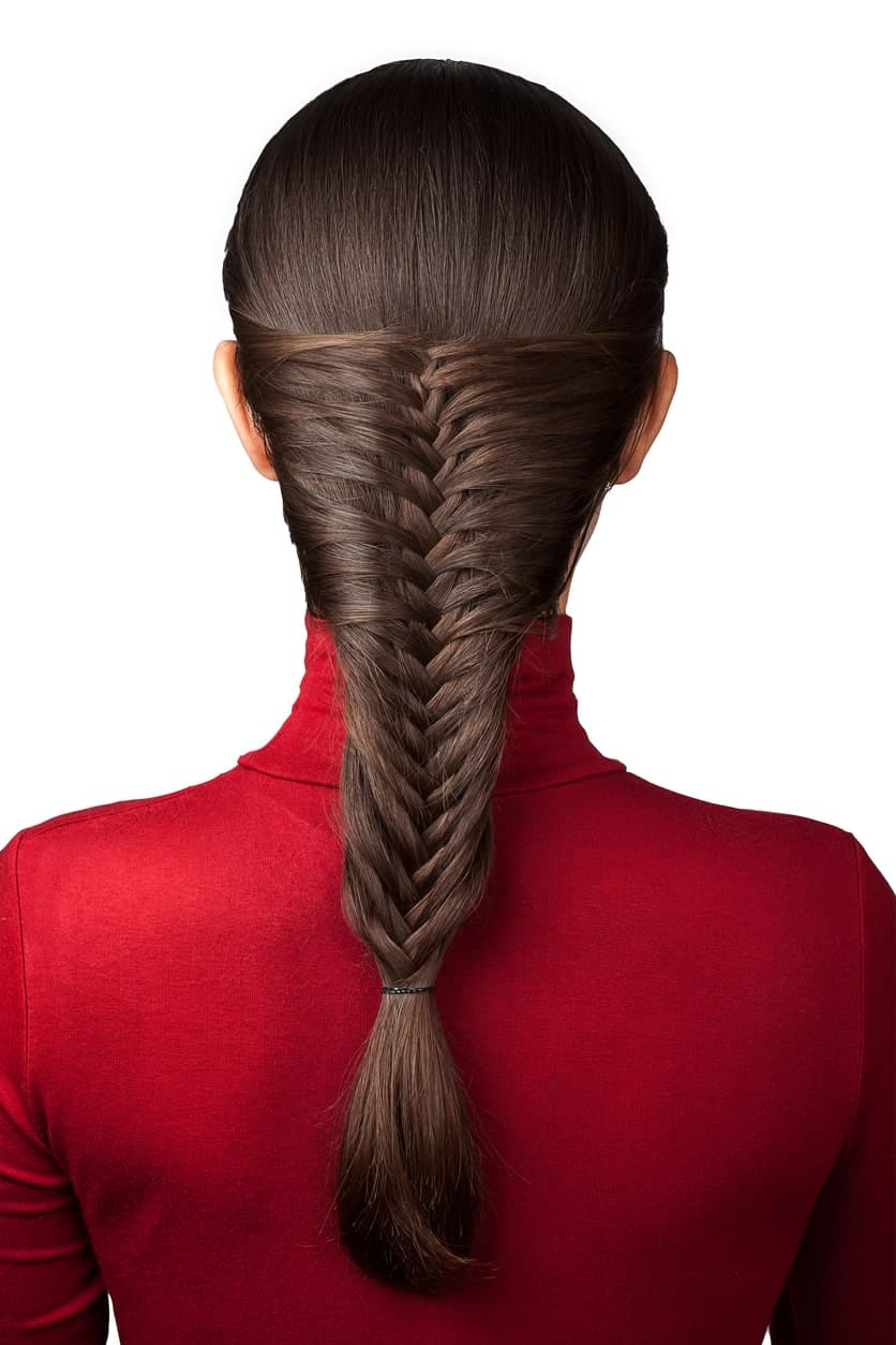 This hairstyle for women with long hair oozes style and dignity like nothing else. A sleek and delicately plaited fishtail is the perfect hairstyle for various occasions.