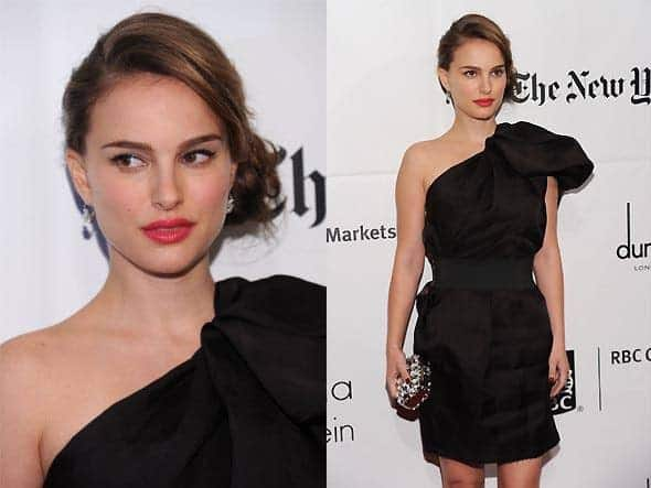 Natalie Portman can be seen here with an elegant, messy side bun and a straight side bang. The hair on the other side has been pinned tightly to accentuate her cheekbones.