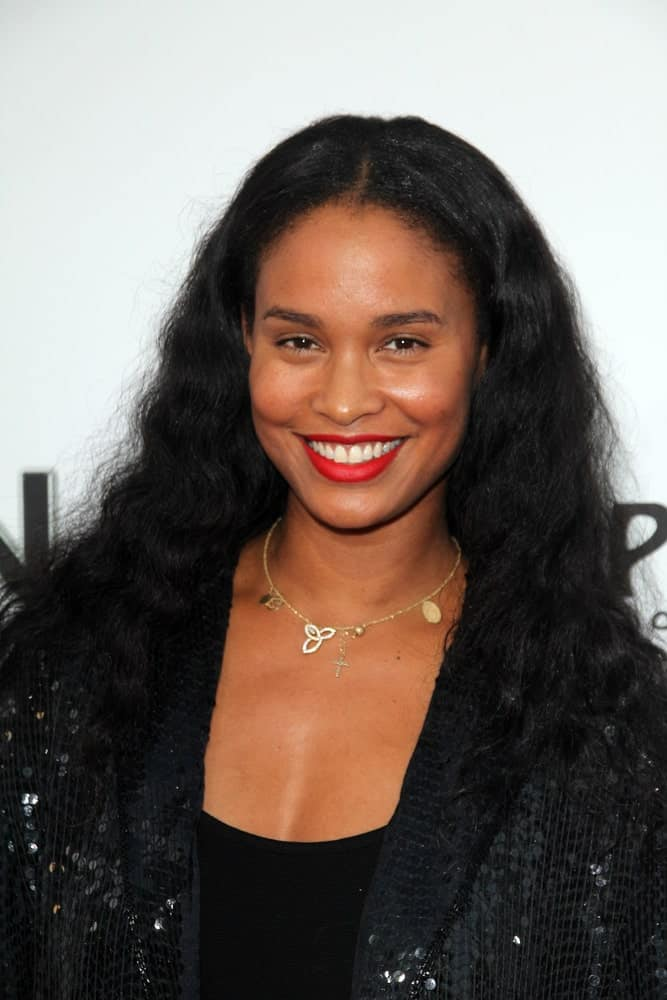 This is the stunning Joy Bryant with flat and slightly messy curls that seem to have been brushed out to give it that effect.
