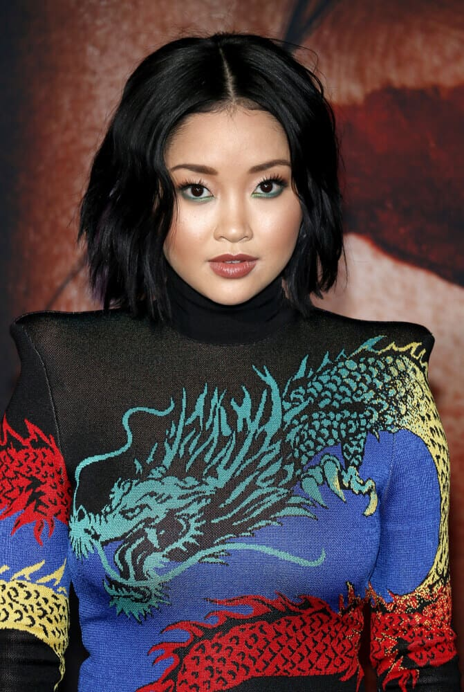 Lana Condor's deep black hair in a tousled bob will never go out of style! This one looks good on her simple everyday makeup with a bit of an accent on the eye part.