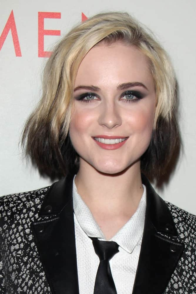 Here we see Evan Rachel Woods looking really mod in this unique and fascinating layered bob haircut for women. Of course, you will need to dye your hair for this one, but if you think that layering short hair will look too diminutive, then you can combine it with eye-catching highlights such as dark Havana brown tips on an ash blonde base color.