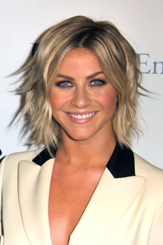 This hairstyle for women with short straight hair is sported by the beautiful Julianne Hough. What's fascinating about this style is that a choppy lob with a striking balayage makes a good combination for professional settings as well as for weekend parties.