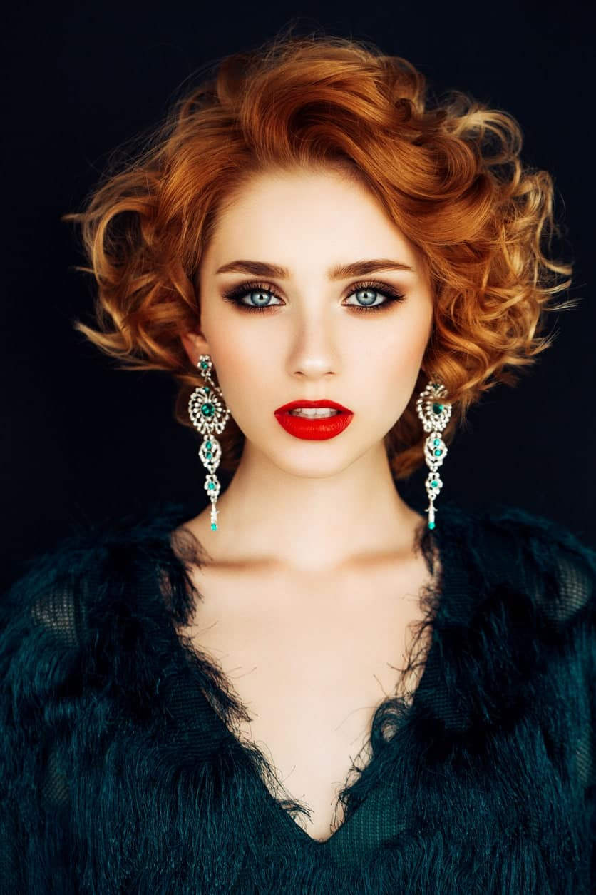 Whether it's a wedding or a weekend party, this imposing hairstyle for women with short red hair will definitely wow all the guests present. Note that the key to balance (and also further accentuate) the blown-back upward hairdo is to sport some long and pointy earrings.