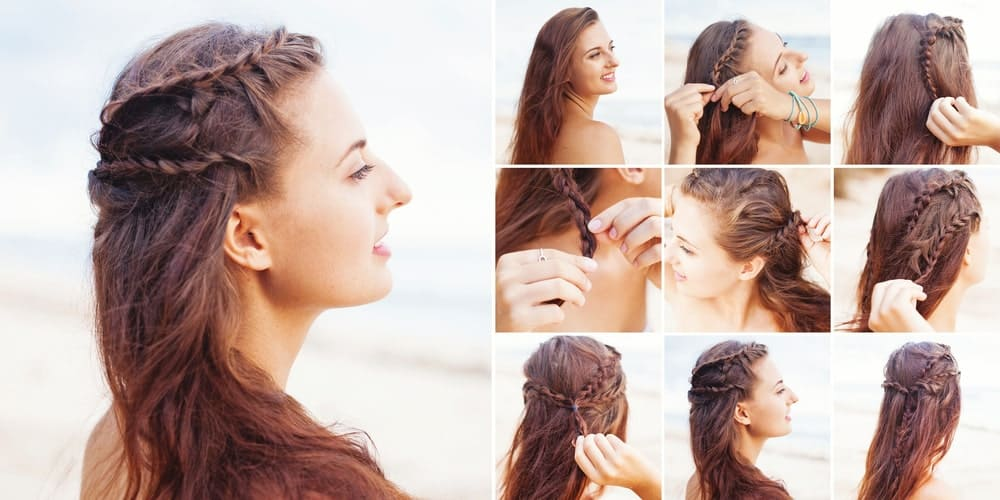 Why not try multiple braids? Play around with different side braids and waterfall braids to add some texture and design to wavy hair. This is a great hairstyle for a cute, bohemian look.