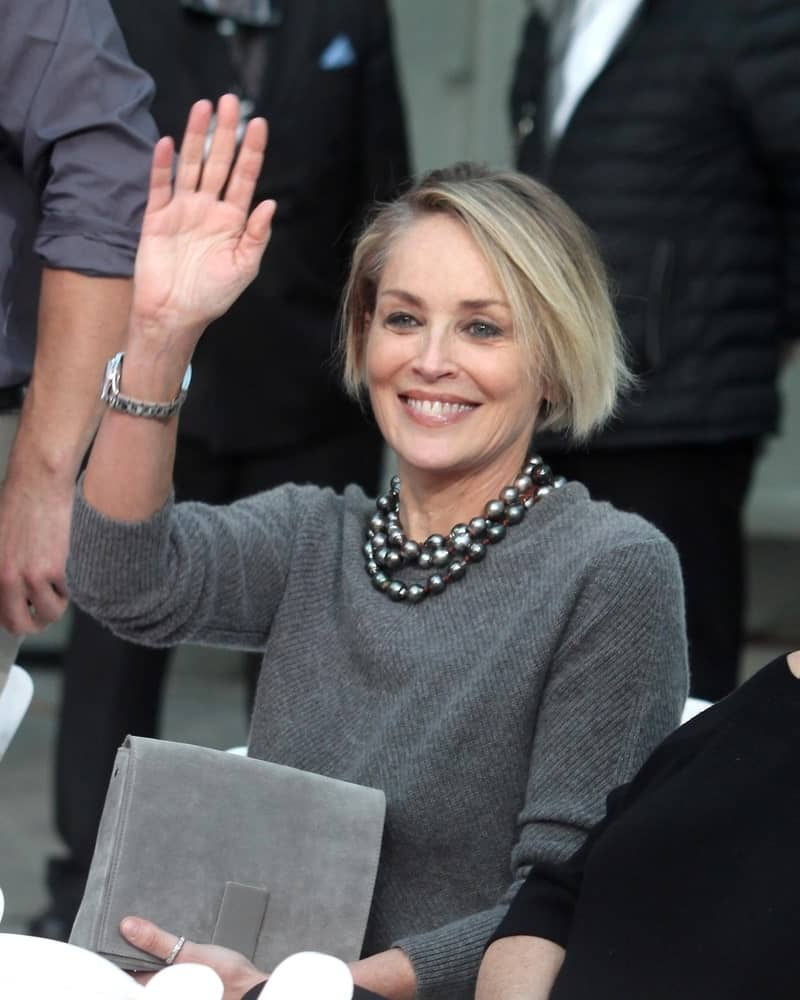 For anyone who thinks they are too old to rock a bold hairstyle, this is probably going to change the way you think! Sharon Stone looks like the epitome of grace with this super short and sleek bob that has been parted on the side and looks utterly graceful.