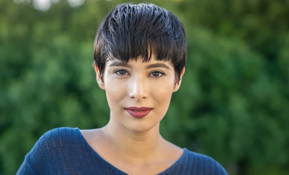 A cute mushroom pixie goes a long way to give your hair some character. Cut your hair short in the same length on all side and make it lie flat.  Give your eye-skimming bangs some uneven, jagged cut for a more volumizing look.