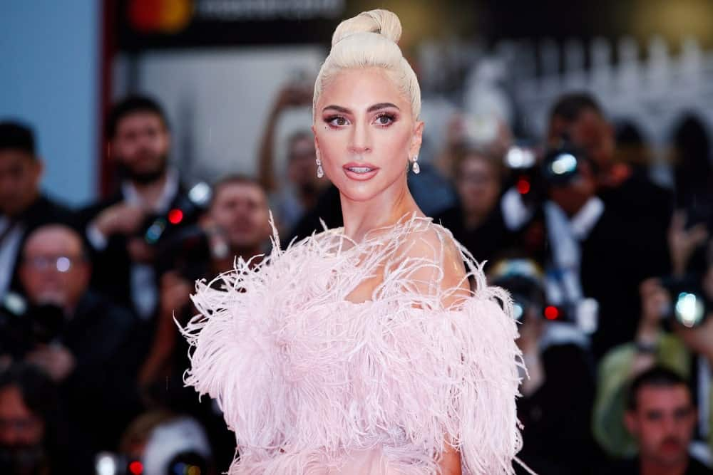 When it comes to hair and makeup, Lady Gaga is a style chameleon. The singer and actress usually sports long and thick platinum waves. However, in this red carpet look, Lady Gaga has gone the extra mile to make her hair even paler to an almost silvery-white color. She has twisted it up in a chic ballerina bun to show off her perfect makeup.