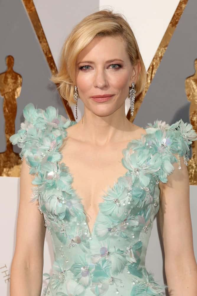 Cate Blanchett's short bob with long and outward twisted tips is ideal for women wearing flamboyant and extravagant gowns because it lets the dress take center stage while giving you a refined look.
