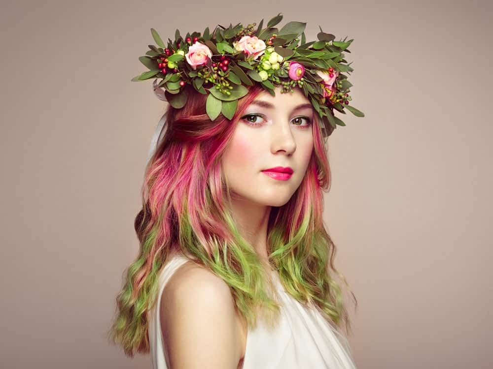 Green and pink are the perfect colors for springtime, but why stop at just clothing? Dye your hair in these spring color as well. The look is very cute and flirty and can take years off any one's face. However, like most multi-colored hairstyles, it will need regular visits to the salon to maintain.