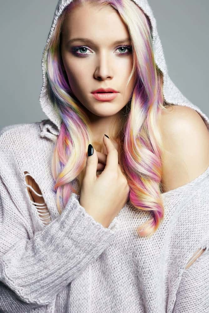 This is one of our favorite types of mermaid hairstyle. Unlike the classic ombre, where one hair color bleeds into the next in a seamless way, this technique takes sections of individual locks and dyes them in contrasting color. The result is this piece-y effect where every color of the rainbow stands out in pieces in every lock. This style is also very high-maintenance and will take hours and hours to get. It is worth the effort though.