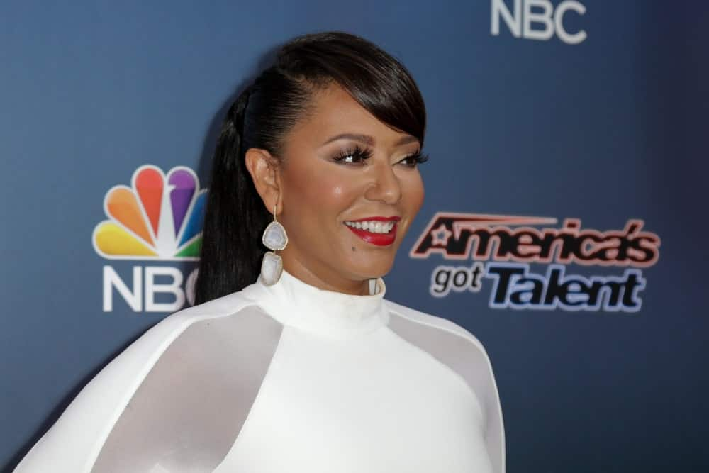 Mel B pulled back her jet black locks into a ponytail with side bangs during the 'America's Got Talent' season 10 taping on August 11, 2015.