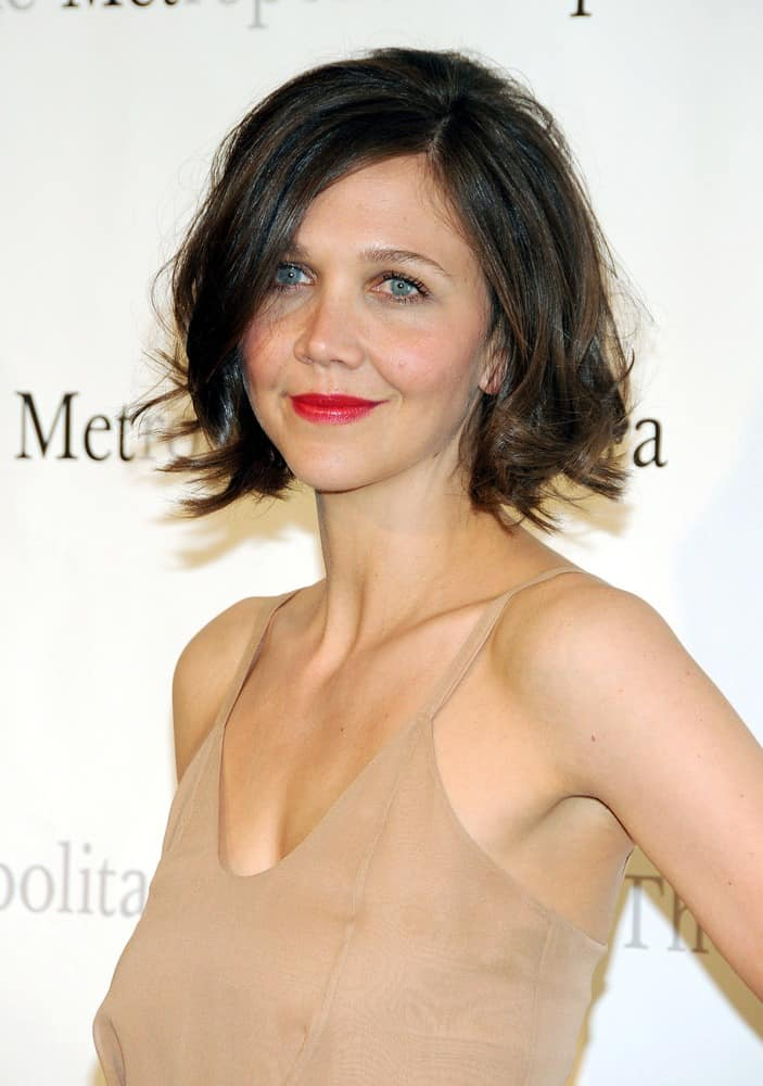 Maggie Gyllenhaal with shaggy bob hairstyle