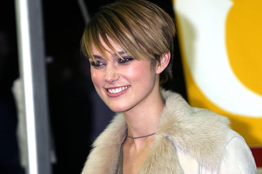 38.Keira Knightley with eye-sweeping bangs