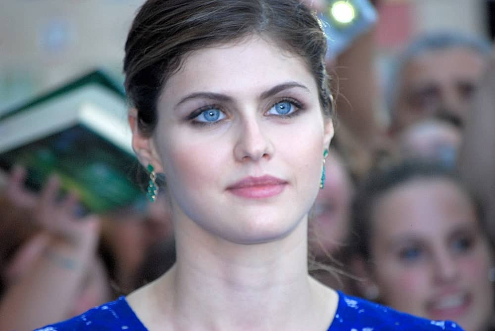 Alexandra Daddario in a blue dress