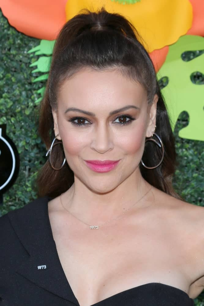 Alyssa Milano at the Lifetime TV Summer Luau at the W Hotel on May 20, 2019 in Westwood, CA.