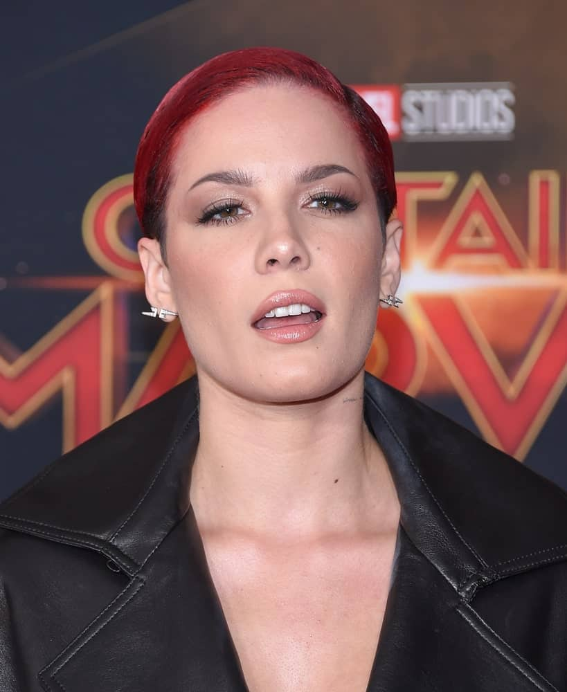 Halsey arrives for the 'Captain Marvel' World Premiere on March 04, 2019 in Hollywood, CA.