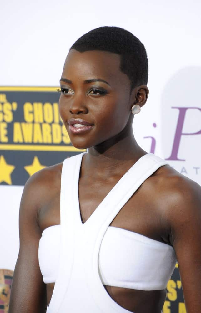 Lupita Nyong'o at the 19th Annual Critics' Choice Awards at The Barker Hangar, Santa Monica Airport.