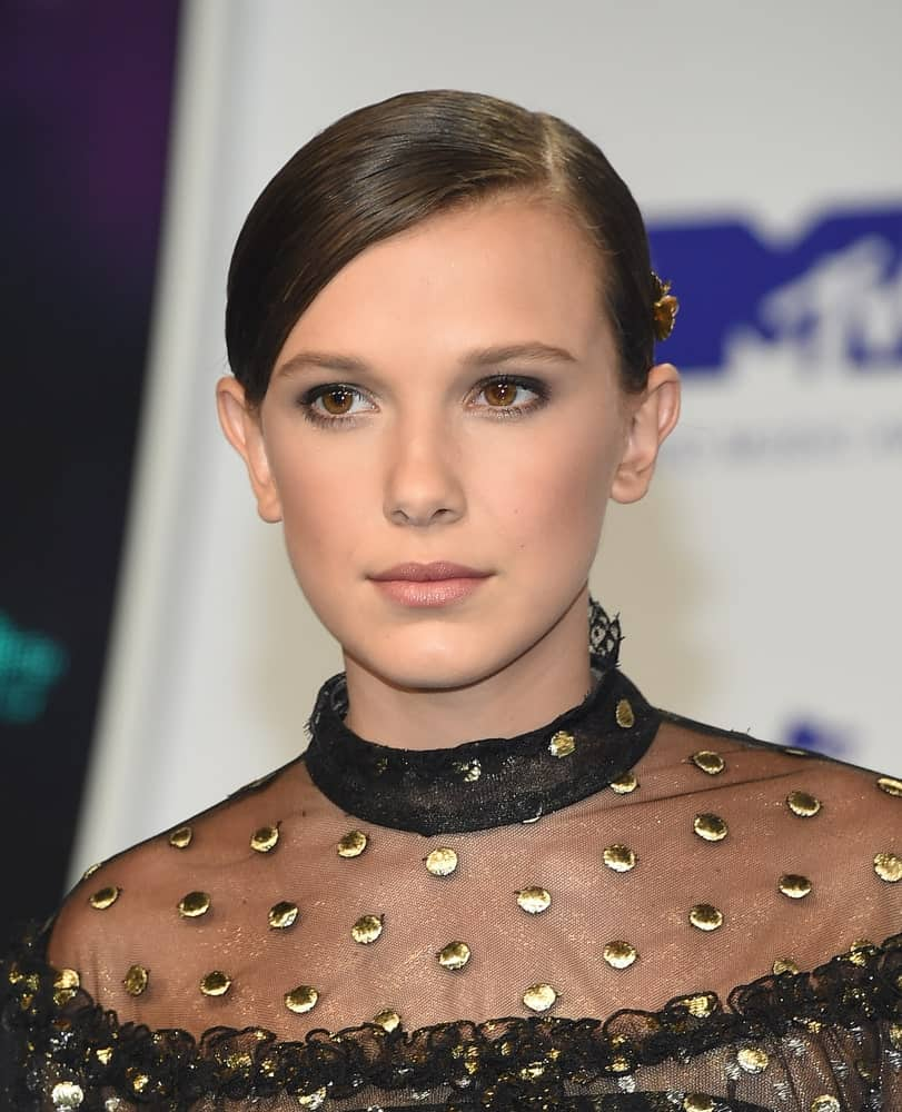 Millie Bobby Brown arrives for the MTV Video Music Awards 2017 on August 27, 2017 in Inglewood, CA.
