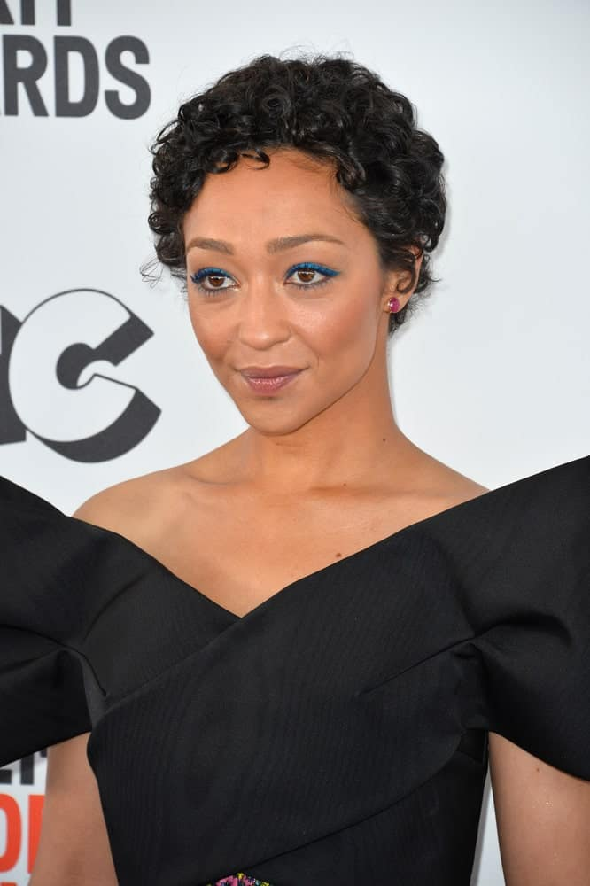 Actress Ruth Negga at the 2017 Film Independent Spirit Awards on the beach in Santa Monica.