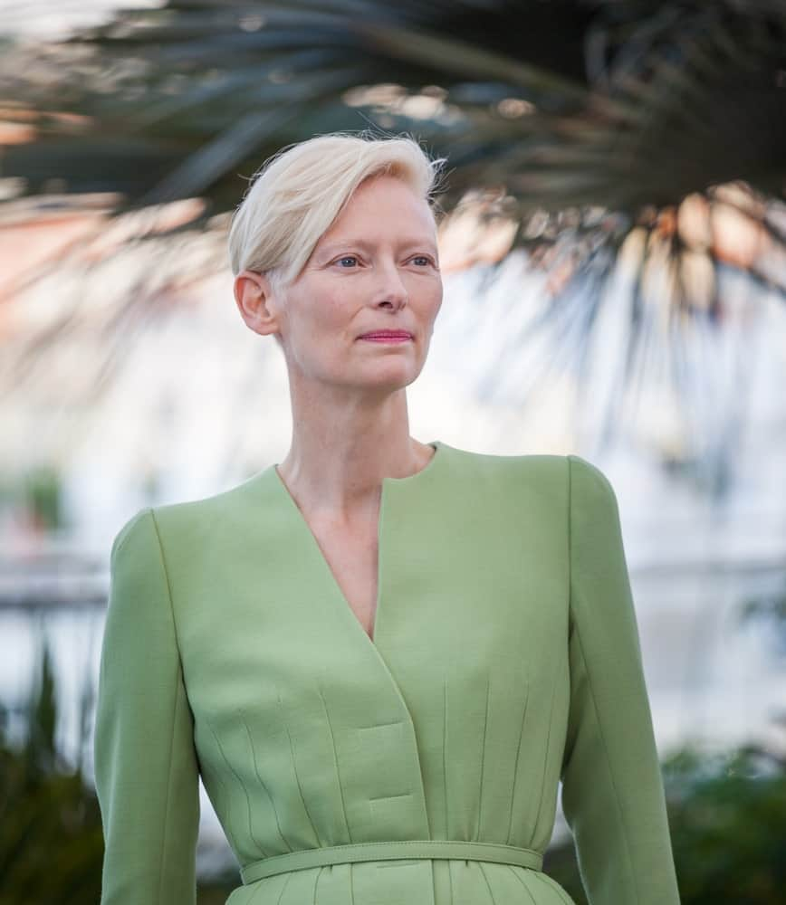 Tilda Swinton attends the 'Okja' photocall during the 70th annual Cannes Film Festival at Palais des Festivals.