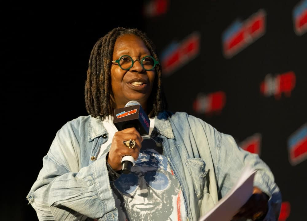 Whoopi Goldberg attends Amazon Prime Good Omens panel during New York Comic Con at Hulu Theater at Madison Square Garden.