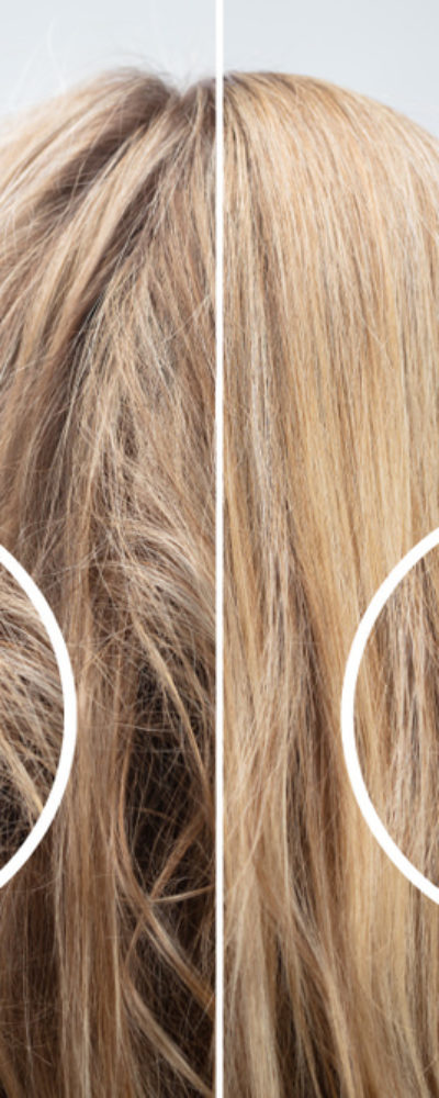 Hair damage comparison photo