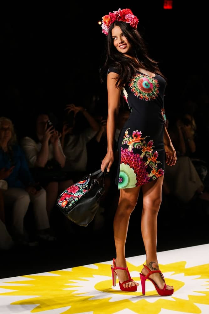 Model Adriana Lima walks the runway at Desigual during Mercedes-Benz Fashion Week Spring 2015 at Lincoln Center on September 4, 2014, in NYC.