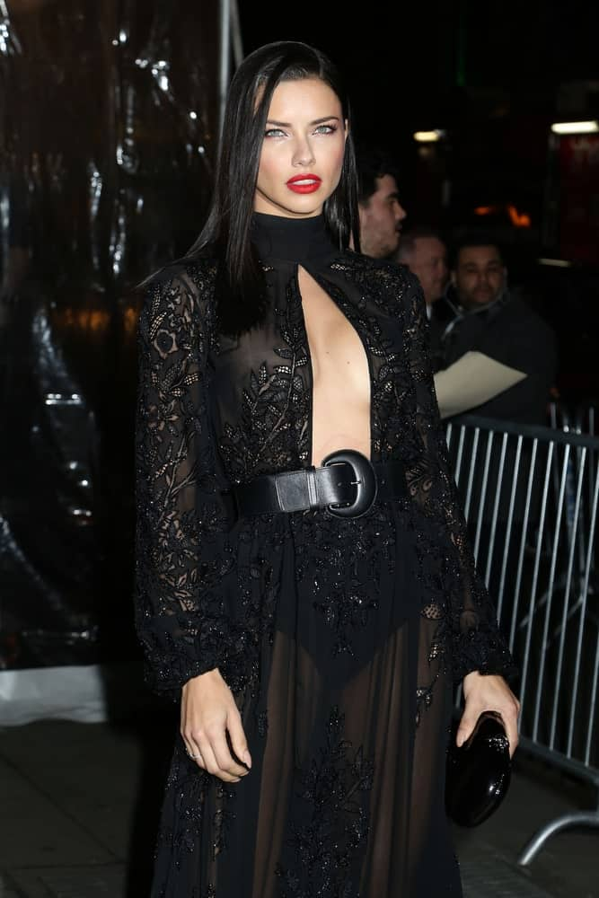 Adriana Lima attended the amfAR Gala at Cipriani Wall Street last February 8, 2017 in New York wearing a sexy sheer black dress and slick side-parted straight black hair.