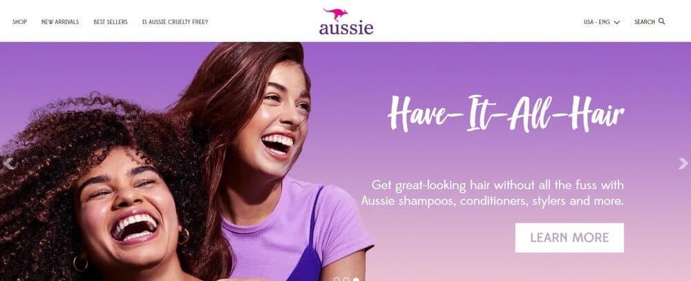 Aussie homepage screenshot.
