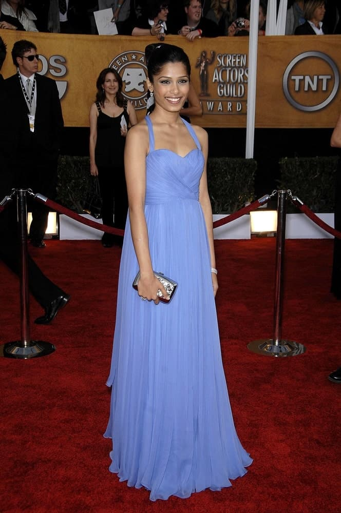 Freida Pinto was wearing a stunning light blue Marchesa gown with her sophisticated updo at the 15th Annual Screen Actors Guild SAG Awards, Shrine Auditorium in Los Angeles last January 25, 2009.