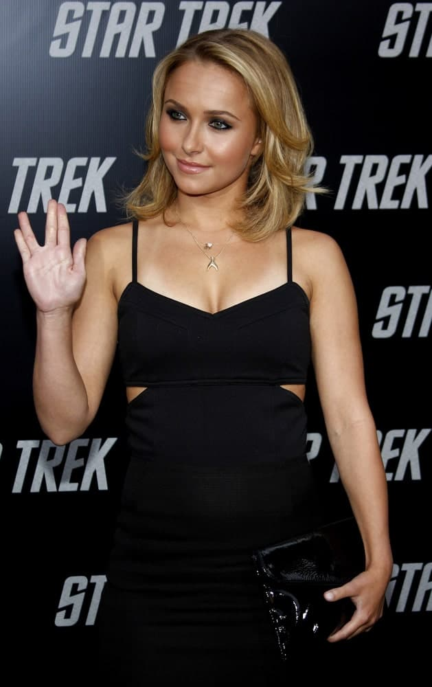 "Hayden Panettiere at the Los Angeles Premiere of ""Star Trek"" held on April 30, 2009, with short layered hair and a classic black dress that complements her smoky eyes."