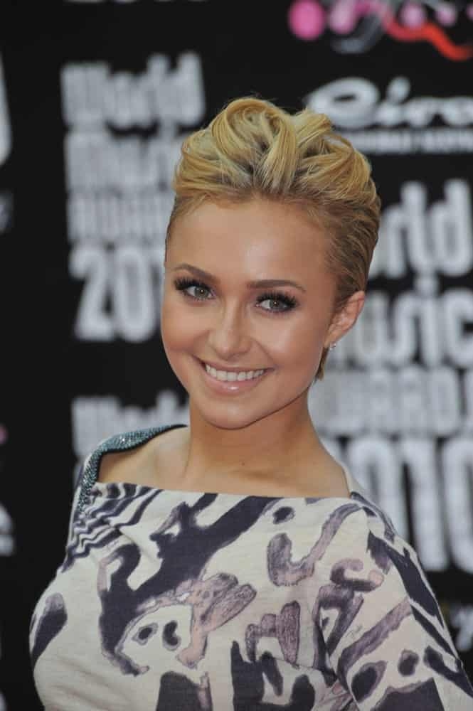 Confident Hayden Panettiere looked fierce in a printed dress and a trendy upstyle hairstyle that's eye-catching. This was worn during the 2010 World Music Awards at the Monte Carlo Sporting Club last May 18th.