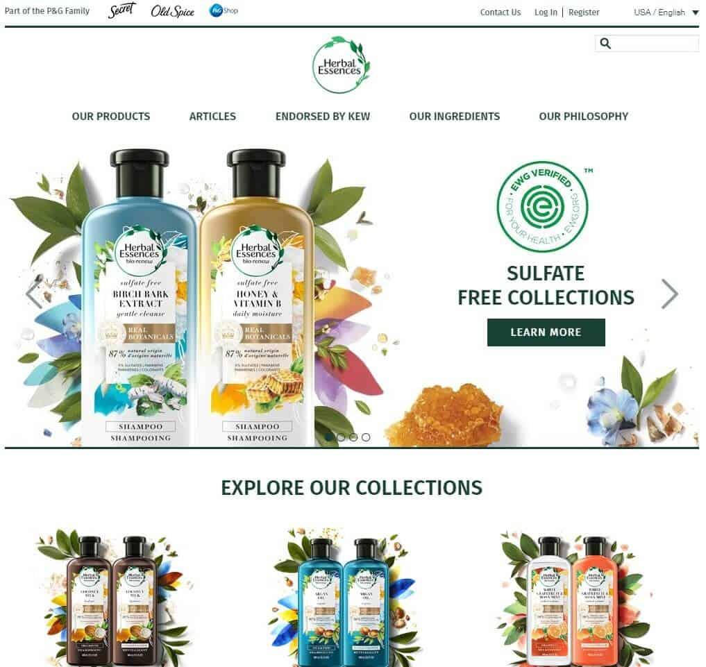Clairol Herbal Essences homepage screenshot.